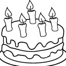 Chocolate Cake with Five Candles Coloring Pages