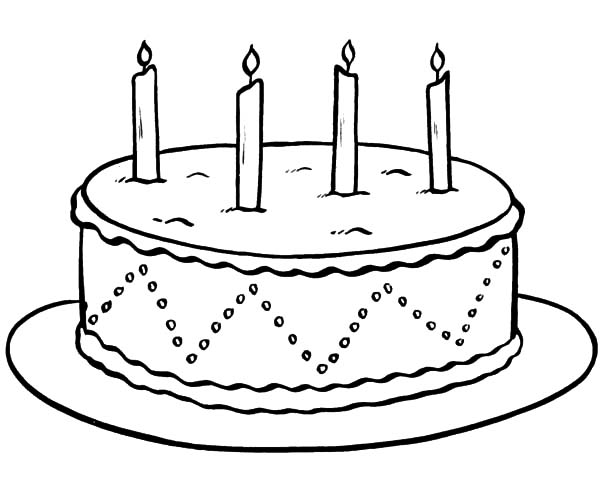 Chocolate Cake with Four Lighted Candles Coloring Pages