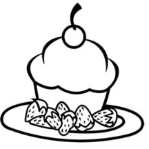Chocolate Cake with Strawbery and Cherry on Top Coloring Pages