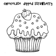 Chocolate Dipped Strawberry Cupcakes Coloring Pages