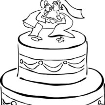 Chocolate Wedding Cake with Bride and Groom Dolls Coloring Pages
