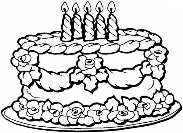 Chocolate Wedding Cake with Candles Coloring Pages