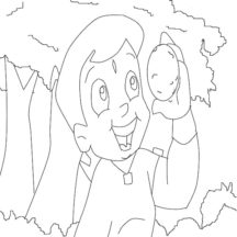 Chota Bheem Carry an Orange Coloring Pages