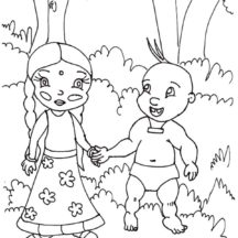 Chota Bheem Closest Friends Chutki and Raju Walking in the Forest Coloring Pages