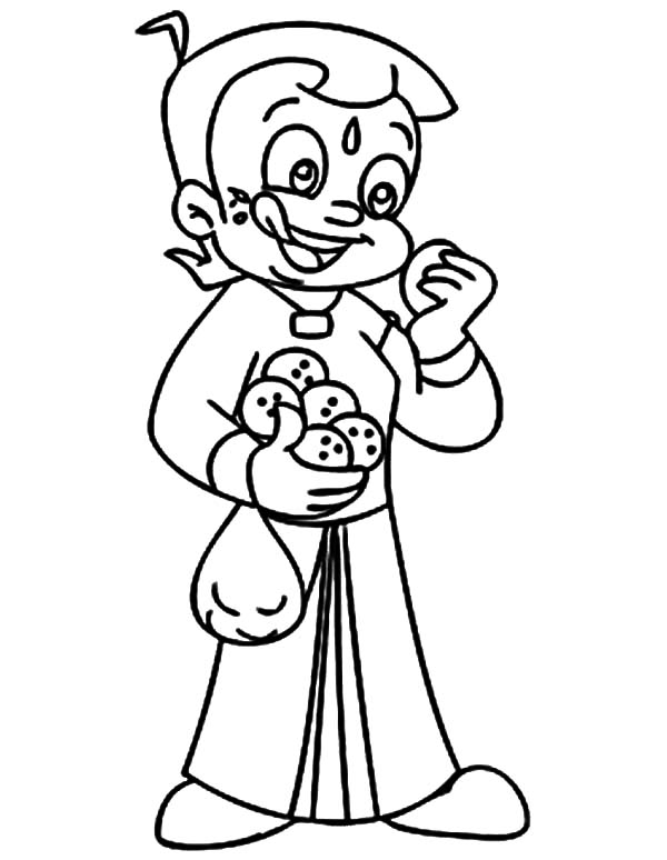 Chota Bheem Eat Cookies Coloring Pages