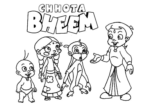 Chota Bheem Explain His Plan Coloring Pages