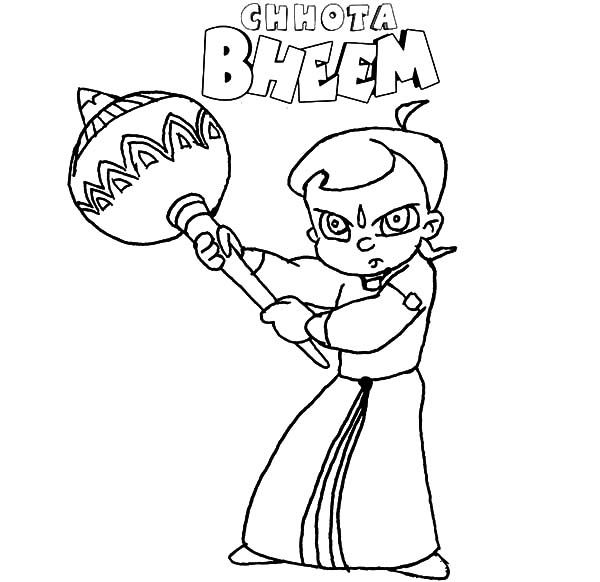 Chota Bheem Fight with Bludgeon Coloring Pages