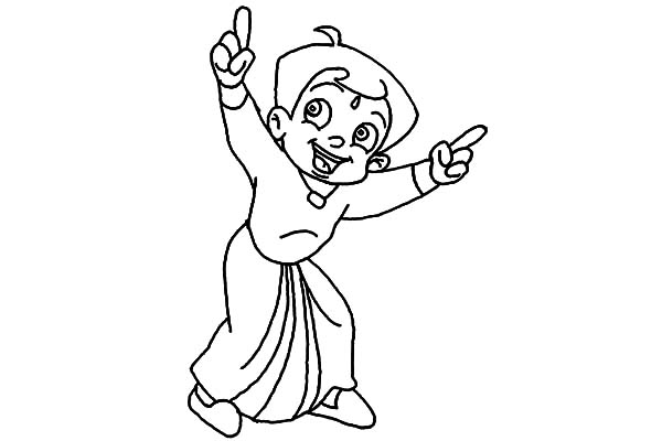 Chota Bheem Laughing Coloring Pages
