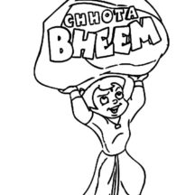 Chota Bheem Lifting Big Rock Coloring Pages