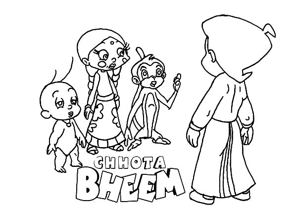 Chota Bheem Making Plan with Friends Coloring Pages