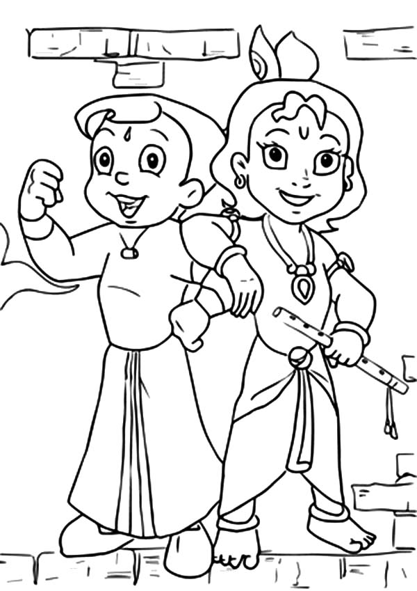 Chota Bheem Posing with Krishna Coloring Pages