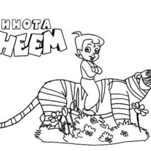 Chota Bheem Ride on Tiger Back Coloring Pages