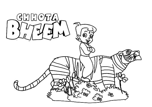 Chota Bheem Ride On Tiger Back Coloring Pages Netart