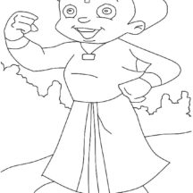 Chota Bheem Throwing a Ball Coloring Pages