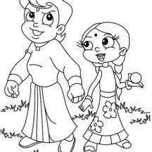 Chota Bheem and Chutki Coloring Pages