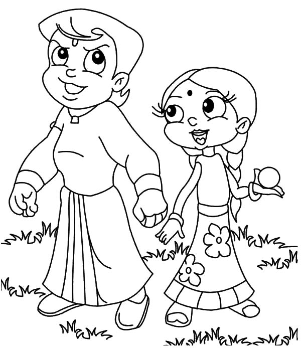 Chota Bheem and Chutki Coloring Pages