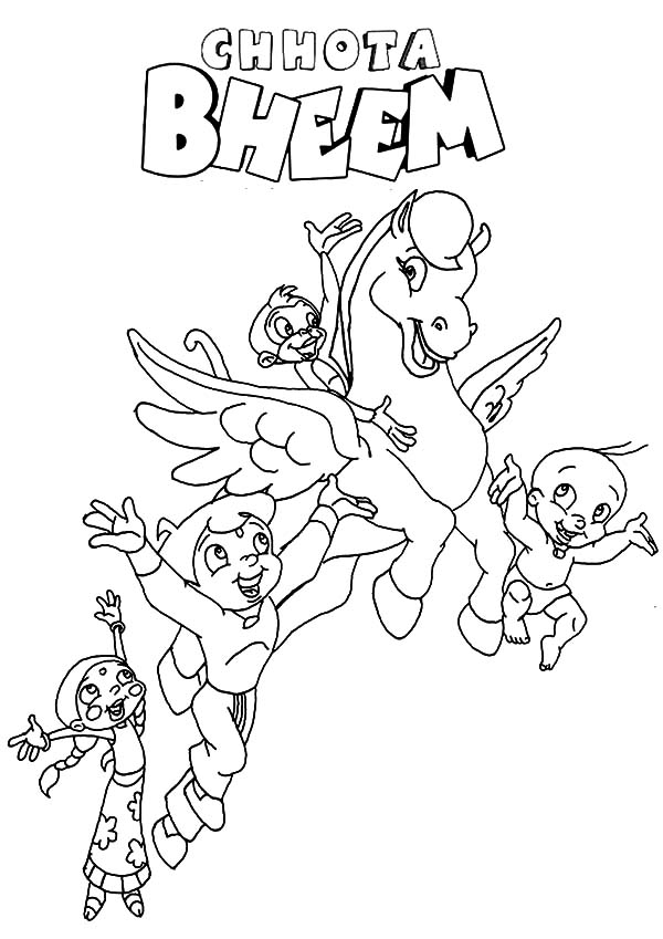 Chota Bheem and Friends Chasing Unicorn Coloring Pages