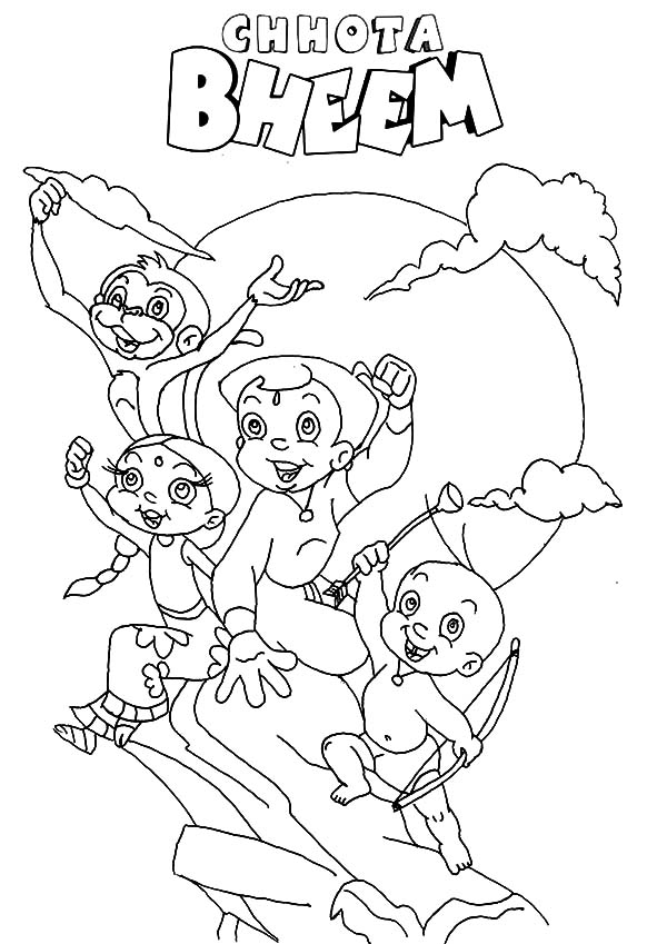 Chota Bheem and Friends Sitting on the Edge of the Cliff Coloring Pages