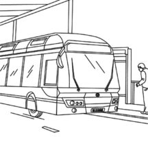 City Bus at Gas Station Coloring Pages