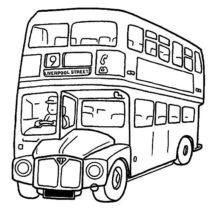 City Double Decker School Bus Coloring Pages