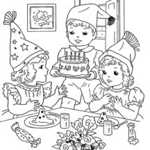 Cooking Birthday Cake for Birthday Party Coloring Pages