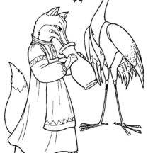 Crane Bird Eating Frog Coloring Pages