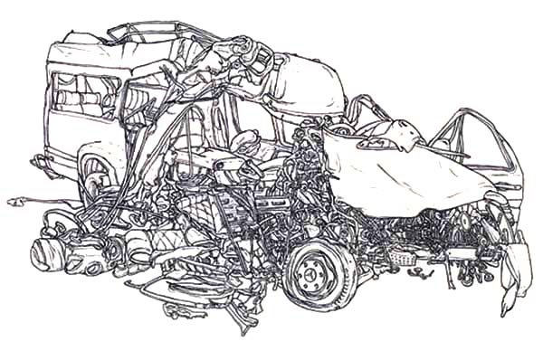 Car crash coloring pages murderthestout for Car crash coloring pages