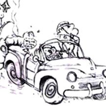 Crashed Cars from Behind Coloring Pages