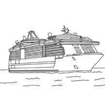 Cruise Ship Floating on the Ocean Coloring Pages