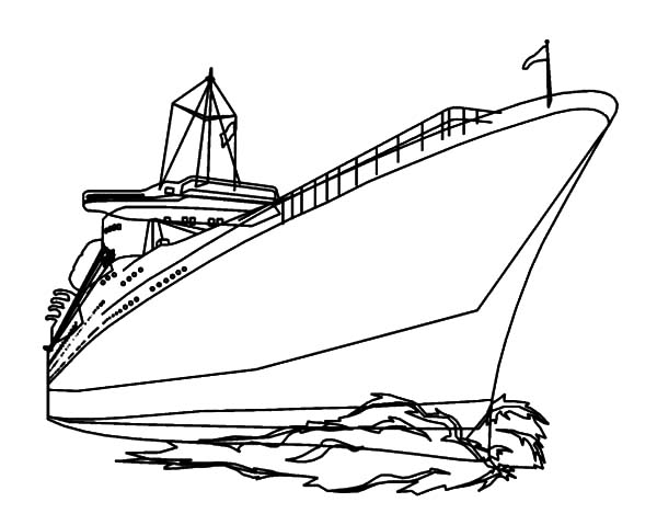 Cruise Ship Making Big Waves Coloring Pages