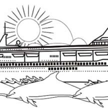 Cruise Ship and Three Dolphins Coloring Pages