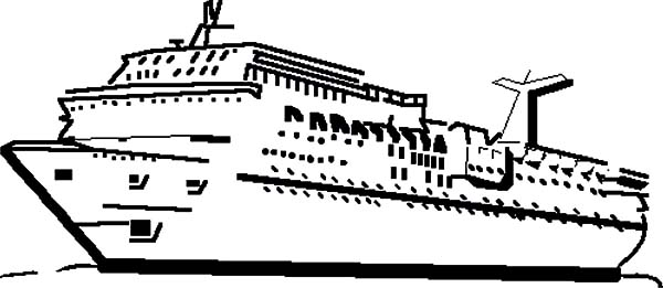Cruise Ship for Pleasure Voyages Coloring Pages