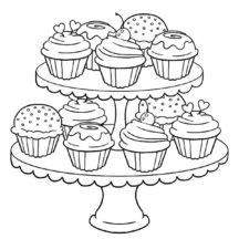 Cupcakes on Two Story Trays Coloring Pages