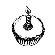 Cupcakes with Candle Light Coloring Pages