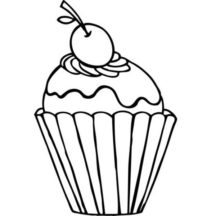 Cupcakes with Cherry on Top Coloring Pages