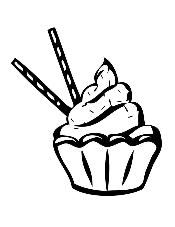 Cupcakes with Chocolate Stick Coloring Pages