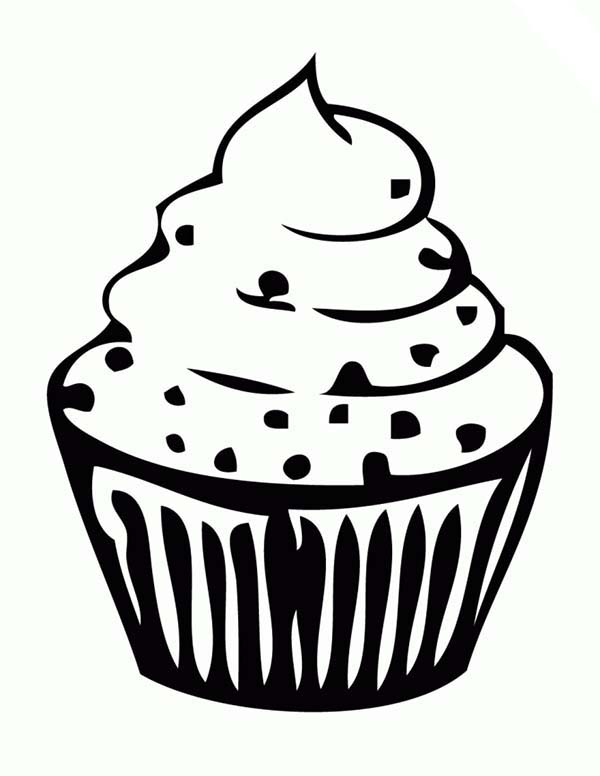 Cupcakes with Sprinkle Toppings Coloring Pages