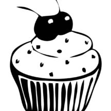 Cupcakes with Two Cherries Coloring Pages