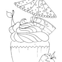 Cupcakes with Umbrella and Strawberry Coloring Pages
