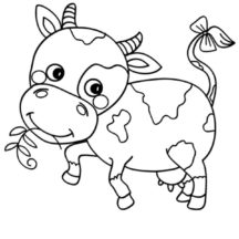 Cute Little Dairy Cow Coloring Pages