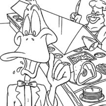 Daffy Duck Working in Restaurant Coloring Pages