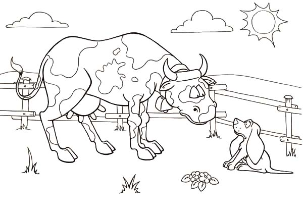 Dairy Cow Talking to Shepherd Dog Coloring Pages