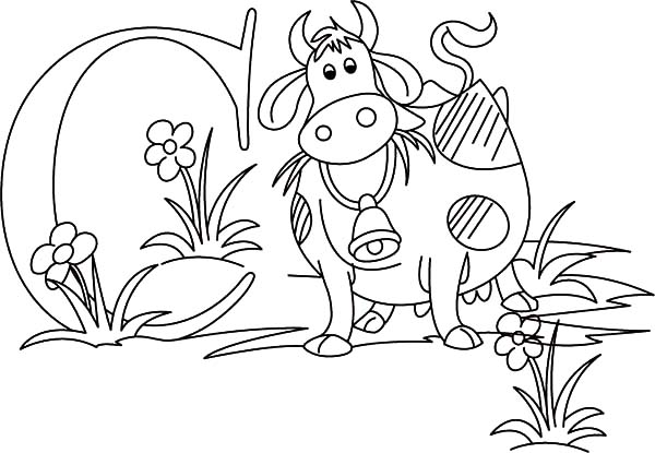 Dairy Cow and Letter C Coloring Pages - NetArt