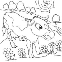Dairy Cow at Flower Garden Coloring Pages