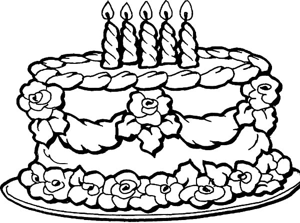 Decorating Birthday Cake with Flowers Coloring Pages