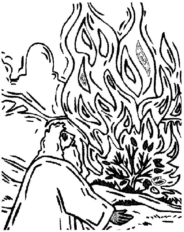 Depiction of Burning Bush Moses Coloring Pages
