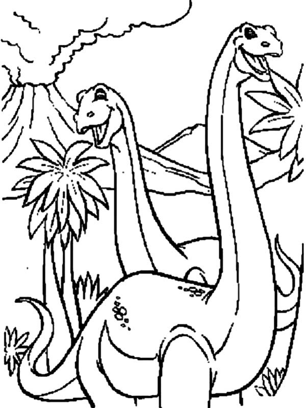 Diplodocus Happy Couple Coloring Pages