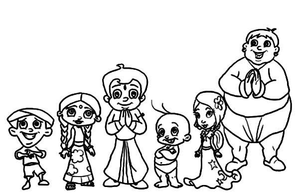 Drawing Characters from Chota Bheem Coloring Pages