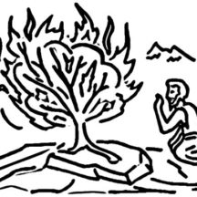 Drawing Moses and Burning Bush Coloring Pages