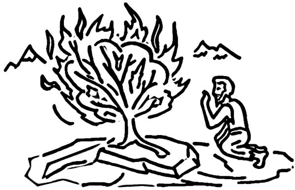 Drawing Moses and Burning Bush Coloring Pages